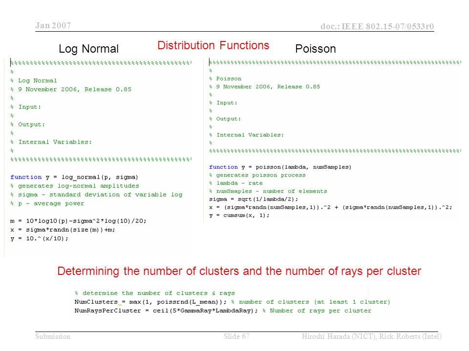 Jan 2007 doc.: IEEE /0533r0 Hiroshi Harada (NICT), Rick Roberts (Intel)Slide 67Submission Distribution Functions Log Normal Poisson Determining the number of clusters and the number of rays per cluster