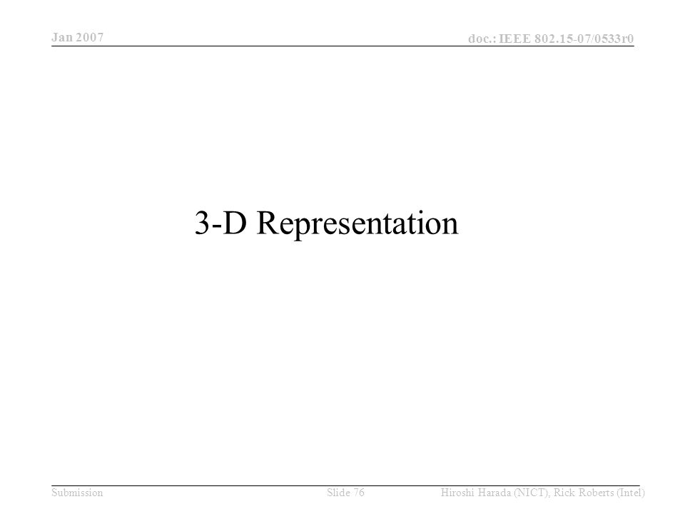 Jan 2007 doc.: IEEE /0533r0 Hiroshi Harada (NICT), Rick Roberts (Intel)Slide 76Submission 3-D Representation
