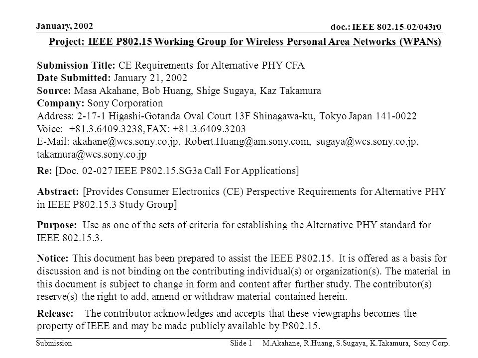 doc.: IEEE 802.15-02/043r0 Submission January, 2002 M.Akahane, R.Huang, S.Sugaya, K.Takamura, Sony Corp.Slide 1 Project: IEEE P802.15 Working Group fo