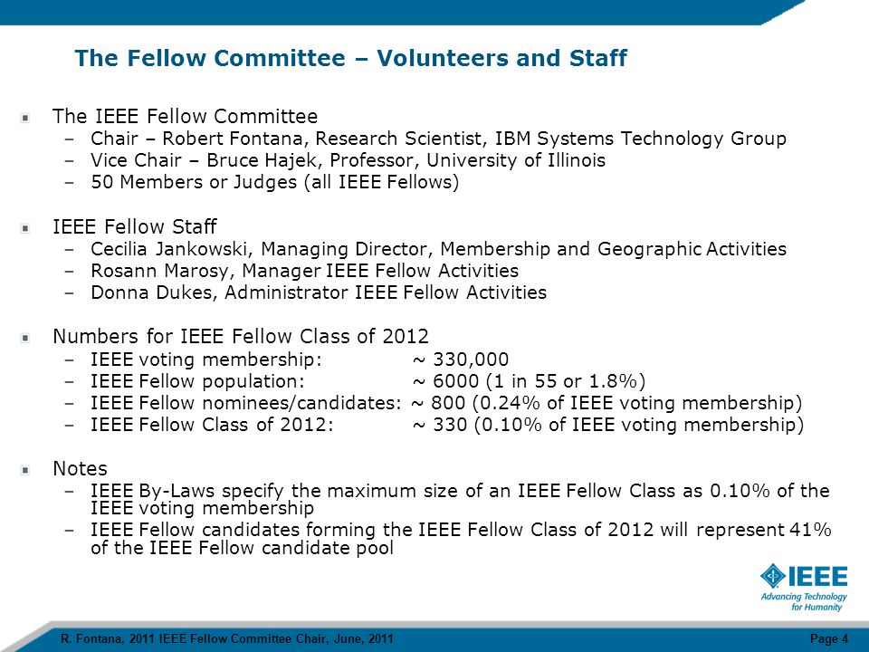 APPENDIX R. Fontana, 2011 IEEE Fellow Committee Chair, June, 2011 Page 15