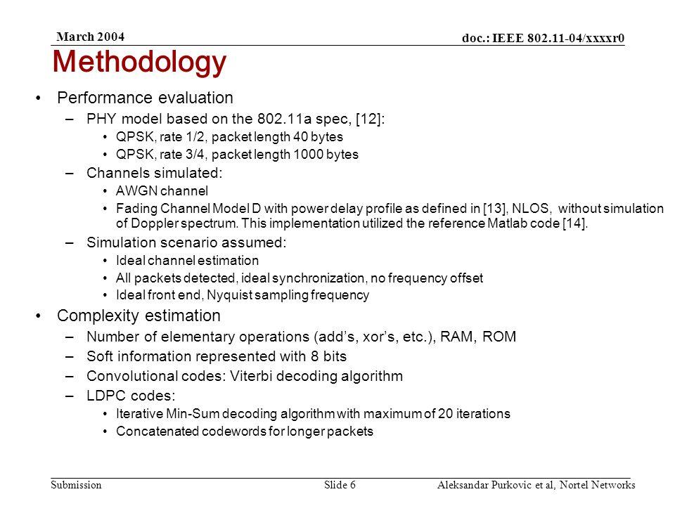 doc.: IEEE 802.11-04/xxxxr0 Submission March 2004 Aleksandar Purkovic et al, Nortel NetworksSlide 7 Performance/Complexity Comparison: 40-byte packets