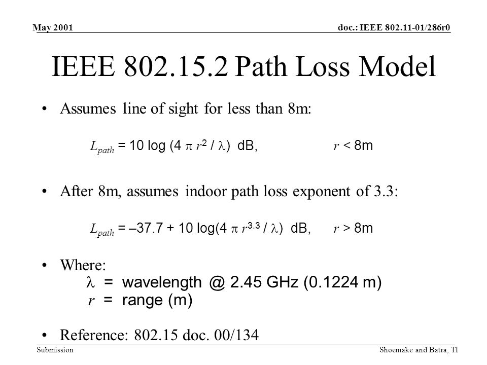 doc.: IEEE /286r0 Submission May 2001 Shoemake and Batra, TI IEEE Path Loss Model Assumes line of sight for less than 8m: L path = 10 log (4  r 2 / ) dB,r < 8m After 8m, assumes indoor path loss exponent of 3.3: L path = – log(4  r 3.3 / ) dB,r > 8m Where: = 2.45 GHz ( m) r = range (m) Reference: doc.