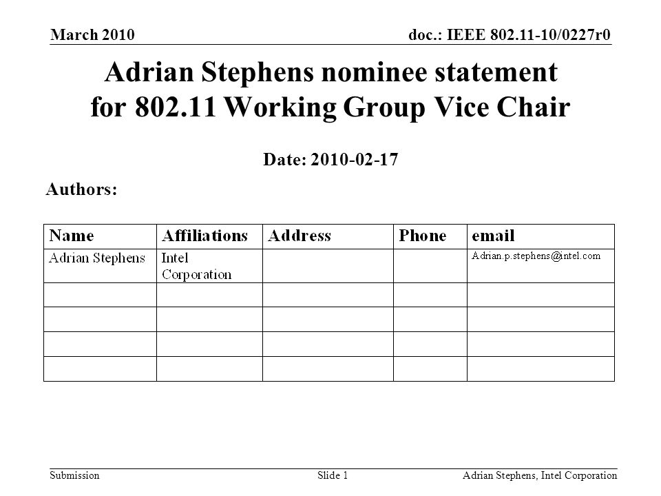 doc.: IEEE 802.11-10/0227r0 Submission March 2010 Adrian Stephens, Intel CorporationSlide 1 Adrian Stephens nominee statement for 802.11 Working Group Vice Chair Date: 2010-02-17 Authors:
