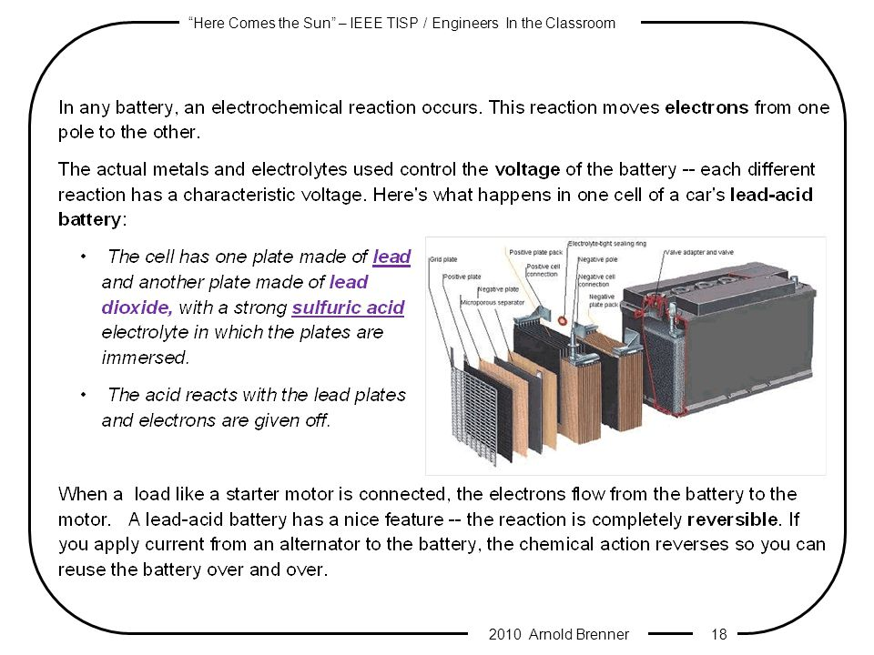 Here Comes the Sun – IEEE TISP / Engineers In the Classroom 2010 Arnold Brenner 17 Inside a Battery Dry CellWet Cell