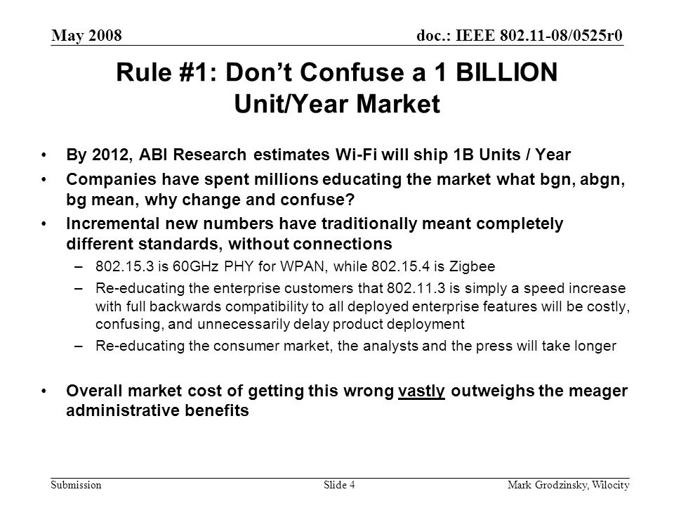 doc.: IEEE 802.11-08/0525r0 Submission May 2008 Mark Grodzinsky, WilocitySlide 4 Rule #1: Don't Confuse a 1 BILLION Unit/Year Market By 2012, ABI Research estimates Wi-Fi will ship 1B Units / Year Companies have spent millions educating the market what bgn, abgn, bg mean, why change and confuse.