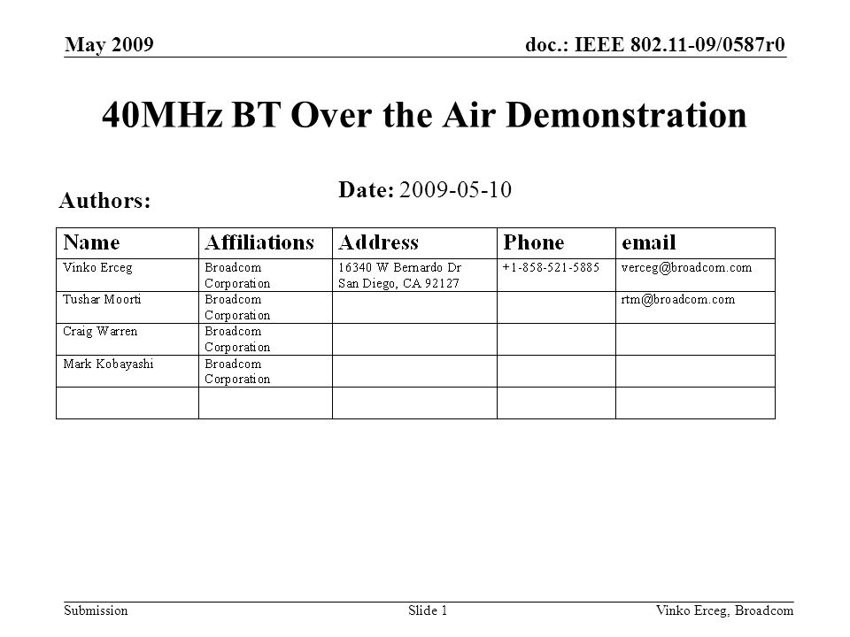 doc.: IEEE 802.11-09/0587r0 Submission May 2009 Vinko Erceg, BroadcomSlide 2 Introduction In this presentation we document coexistence demonstration between devices transmitting.11n 20MHz or forced 40MHz frames and BT devices transmitting A2DP traffic (streaming audio) This demonstration was presented during the two days of IEEE standards meeting in Los Angeles, January 2009.