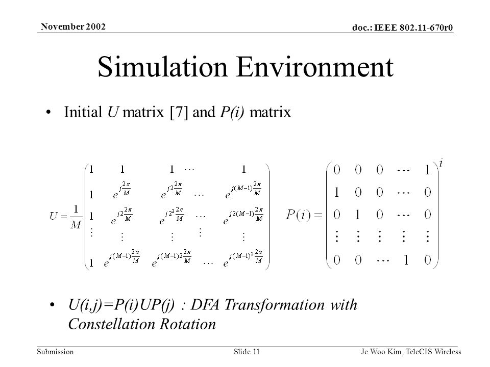 doc.: IEEE r0 Submission November 2002 Je Woo Kim, TeleCIS WirelessSlide 11 Simulation Environment Initial U matrix [7] and P(i) matrix U(i,j)=P(i)UP(j) : DFA Transformation with Constellation Rotation