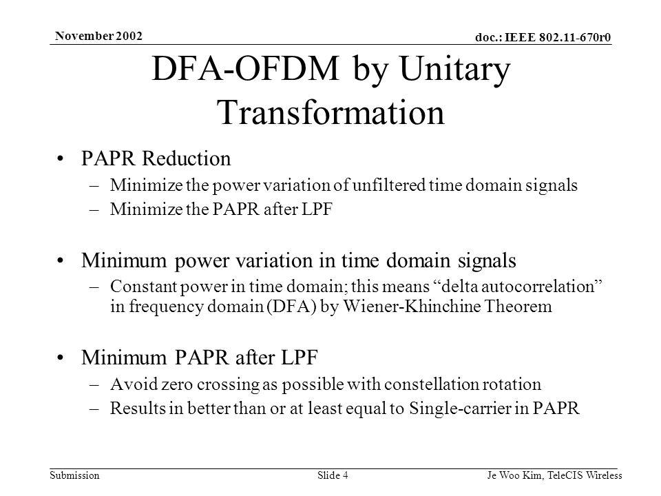 doc.: IEEE 802.11-670r0 Submission November 2002 Je Woo Kim, TeleCIS WirelessSlide 5 DFA-OFDM by Unitary Transformation System Block Diagram Figure 1.