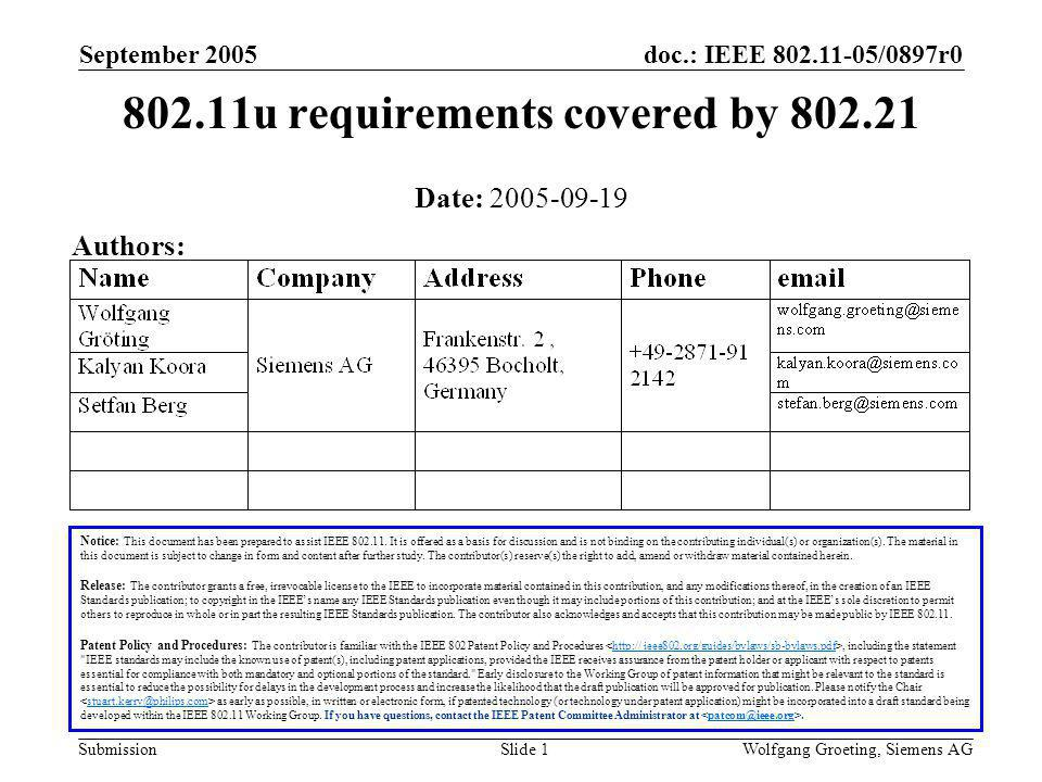 doc.: IEEE 802.11-05/0897r0 Submission September 2005 Wolfgang Groeting, Siemens AGSlide 2 Outline General Information on.21 Requirement discussion Conclusion