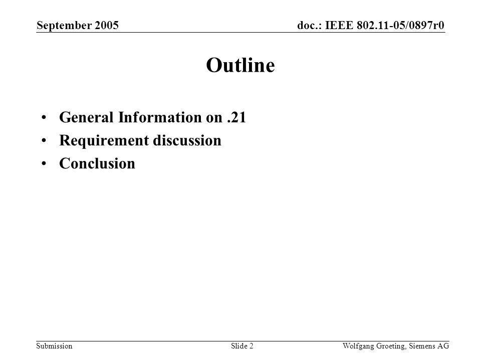 doc.: IEEE /0897r0 Submission September 2005 Wolfgang Groeting, Siemens AGSlide 2 Outline General Information on.21 Requirement discussion Conclusion