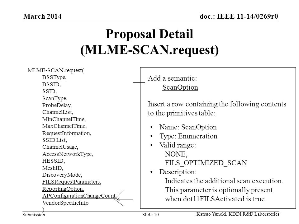 Submission doc.: IEEE 11-14/0269r0March 2014 Katsuo Yunoki, KDDI R&D Laboratories Slide 10 Proposal Detail (MLME-SCAN.request) MLME-SCAN.request( BSSType, BSSID, SSID, ScanType, ProbeDelay, ChannelList, MinChannelTime, MaxChannelTime, RequestInformation, SSID List, ChannelUsage, AccessNetworkType, HESSID, MeshID, DiscoveryMode, FILSRequestParameters, ReportingOption, APConfigurationChangeCount, VendorSpecificInfo ) Add a semantic: ScanOption Insert a row containing the following contents to the primitives table: Name: ScanOption Type: Enumeration Valid range: NONE, FILS_OPTIMIZED_SCAN Description: Indicates the additional scan execution.