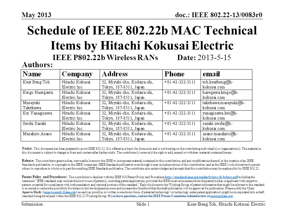 doc.: IEEE 802.22-13/0083r0 Submission May 2013 Keat-Beng Toh, Hitachi Kokusai ElectricSlide 1 Schedule of IEEE 802.22b MAC Technical Items by Hitachi Kokusai Electric IEEE P802.22b Wireless RANs Date: 2013-5-15 Authors: Notice: This document has been prepared to assist IEEE 802.22.