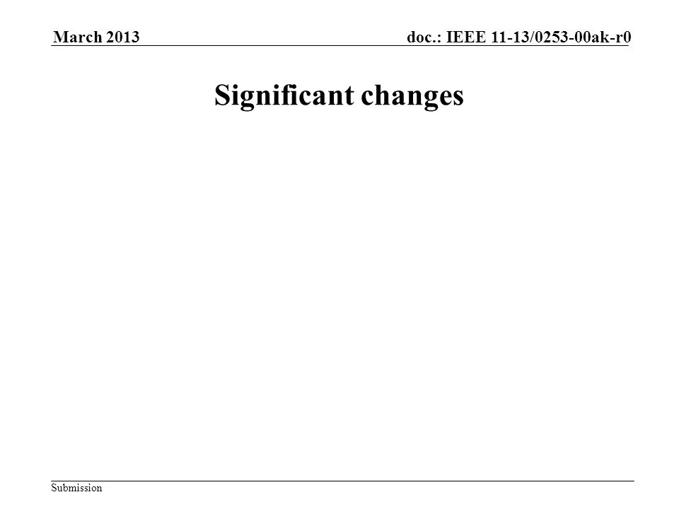 Submission doc.: IEEE 11-13/0253-00ak-r0March 2013 Significant changes