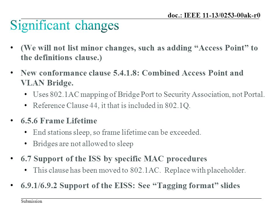 """Submission doc.: IEEE 11-13/0253-00ak-r0 (We will not list minor changes, such as adding """"Access Point"""" to the definitions clause.) New conformance cl"""