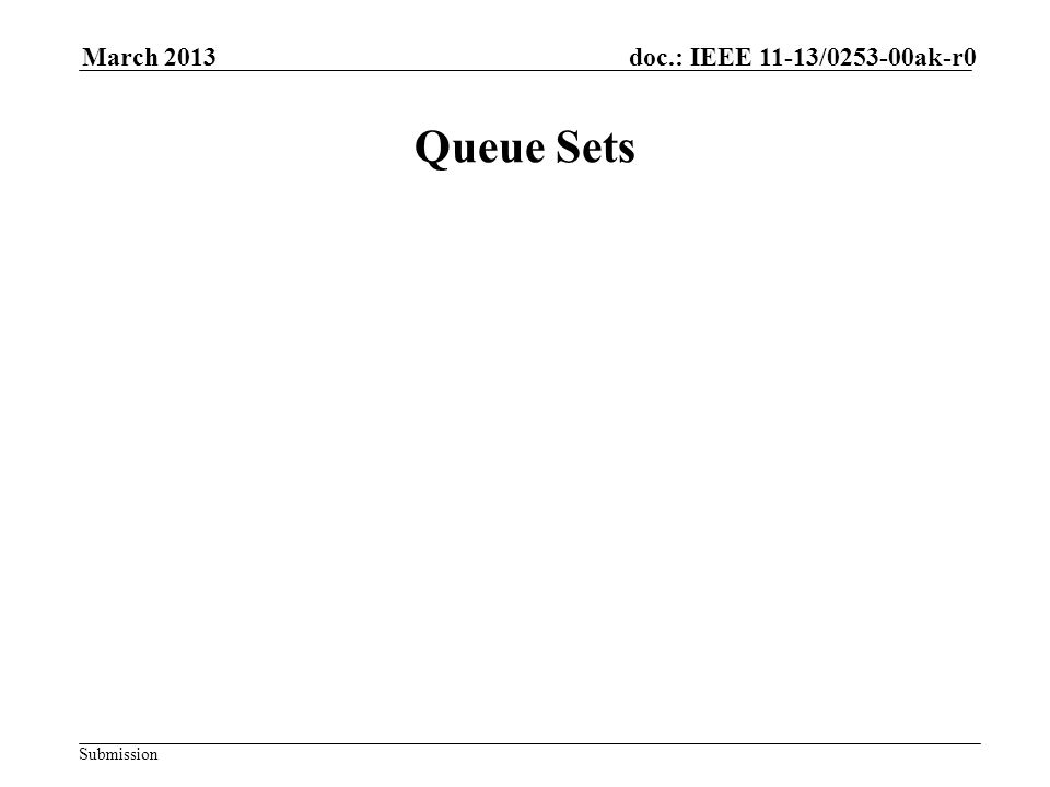 Submission doc.: IEEE 11-13/0253-00ak-r0March 2013 Queue Sets