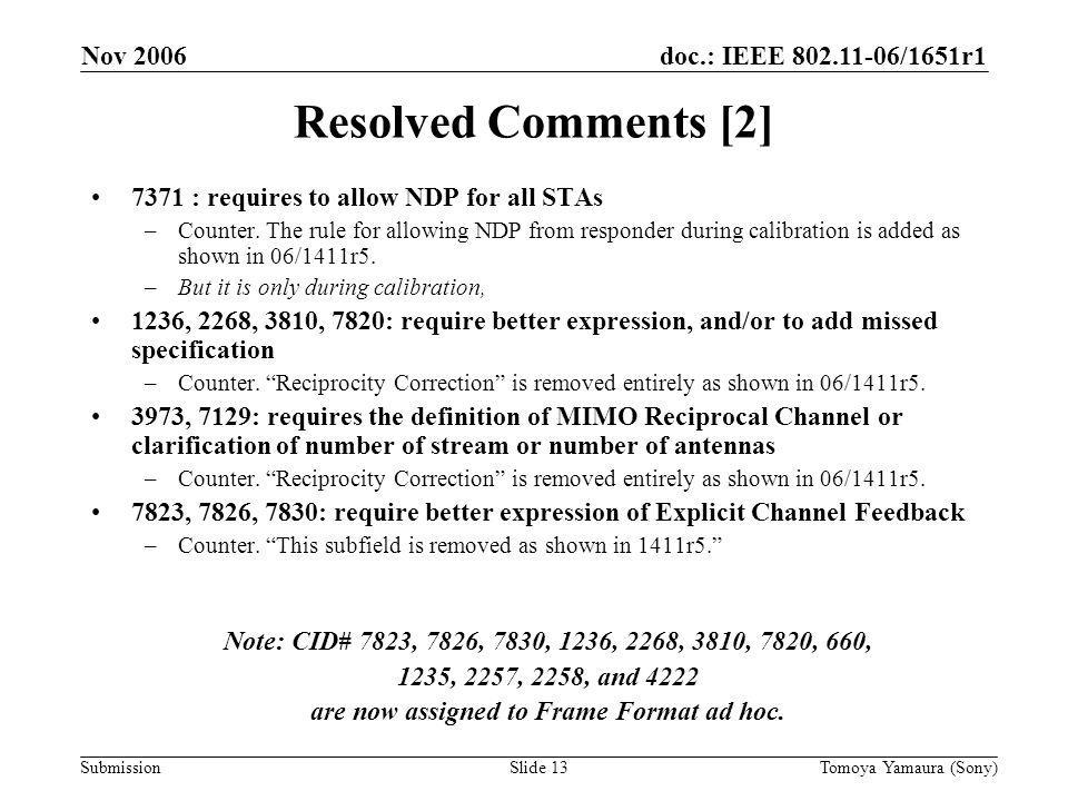 doc.: IEEE 802.11-06/1651r1 Submission Nov 2006 Tomoya Yamaura (Sony)Slide 13 Resolved Comments [2] 7371 : requires to allow NDP for all STAs –Counter.