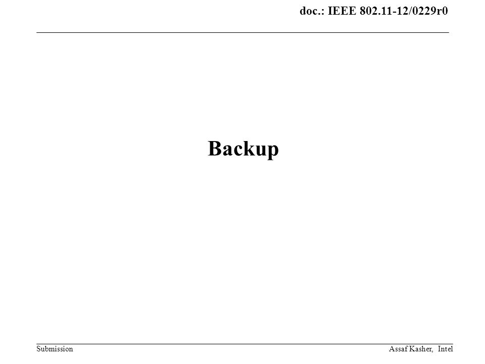 doc.: IEEE 802.11-12/0229r0 Submission Backup Assaf Kasher, Intel