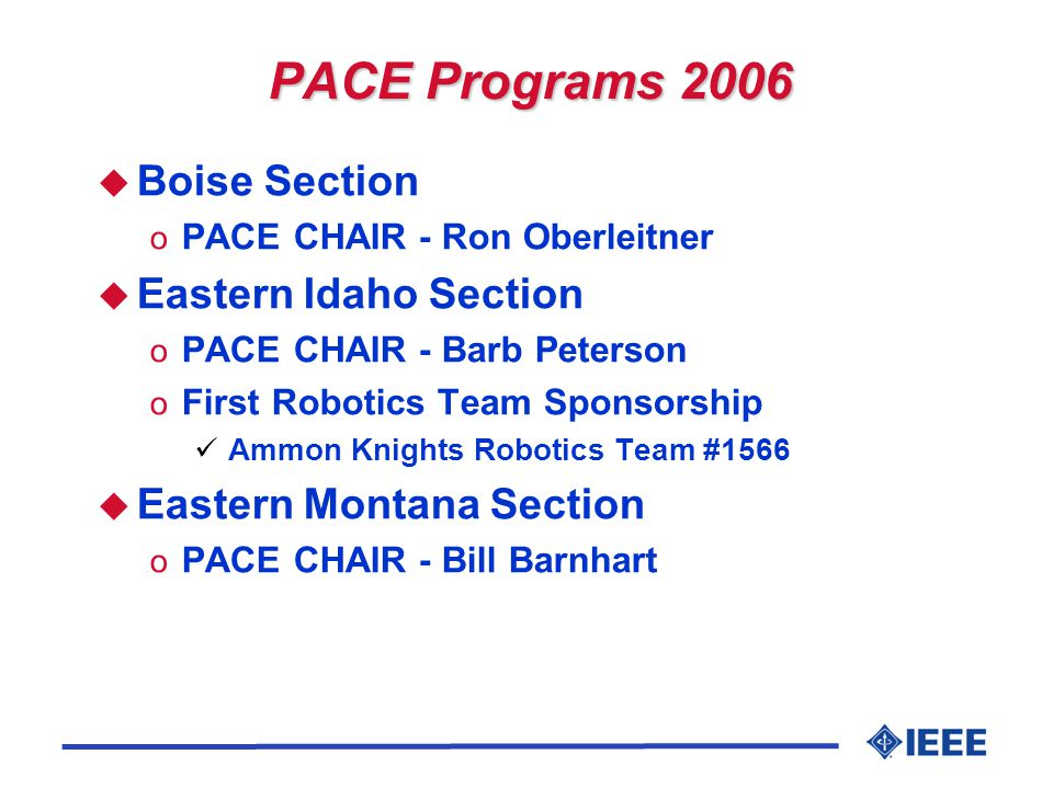 PACE Programs 2006 u Boise Section o PACE CHAIR - Ron Oberleitner u Eastern Idaho Section o PACE CHAIR - Barb Peterson o First Robotics Team Sponsorship Ammon Knights Robotics Team #1566 u Eastern Montana Section o PACE CHAIR - Bill Barnhart