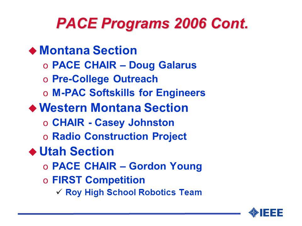 PACE Programs 2006 Cont. u Montana Section o PACE CHAIR – Doug Galarus o Pre-College Outreach o M-PAC Softskills for Engineers u Western Montana Secti