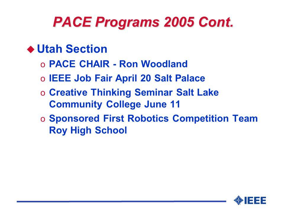 PACE Programs 2005 Cont. u Utah Section o PACE CHAIR - Ron Woodland o IEEE Job Fair April 20 Salt Palace o Creative Thinking Seminar Salt Lake Communi
