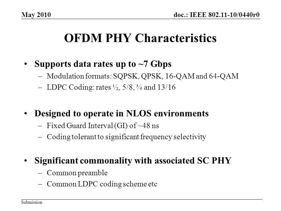 doc.: IEEE 802.11-10/0440r0 Submission Conclusions OFDM PHY Mode has been proposed –Part of complete proposal in 802.11-10/432r0 (slides) and 802.11- 10/433r0 Main characteristics –Significant commonality with SC Mode Proposal See IEEE 802.11-10-0429-00-00ad-NT-8 –Optimized for NLOS environment –Provides up to 7 Gbps data rate Performance evaluation as per EVM document –Presented in IEEE 802.11-10-0431-00-00ad-CP-PHY May 2010 Vish Ponnampalam, MediatekSlide 17