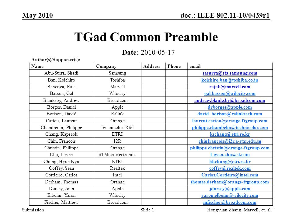 doc.: IEEE 802.11-10/0439r1 Submission May 2010 Slide 1 TGad Common Preamble Date: 2010-05-17 Author(s)/Supporter(s): NameCompanyAddressPhoneemail Abu
