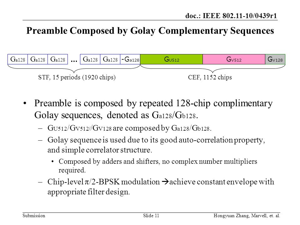 doc.: IEEE 802.11-10/0439r1 Submission Preamble Composed by Golay Complementary Sequences Preamble is composed by repeated 128-chip complimentary Gola