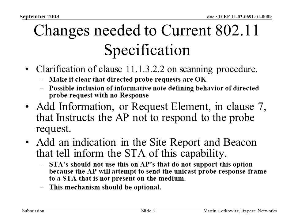 doc.: IEEE 11-03-0691-01-000k Submission September 2003 Martin Lefkowitz, Trapeze NetworksSlide 5 Changes needed to Current 802.11 Specification Clarification of clause 11.1.3.2.2 on scanning procedure.