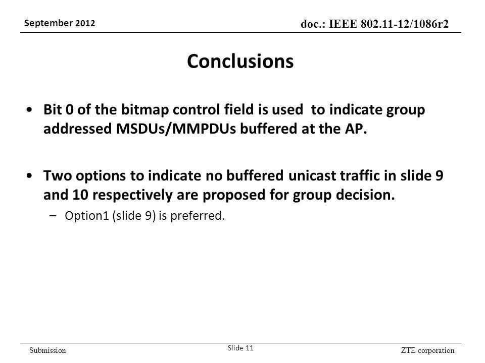 ZTE corporation doc.: IEEE 802.11-12/1086r2 September 2012 Submission Conclusions Bit 0 of the bitmap control field is used to indicate group addressed MSDUs/MMPDUs buffered at the AP.