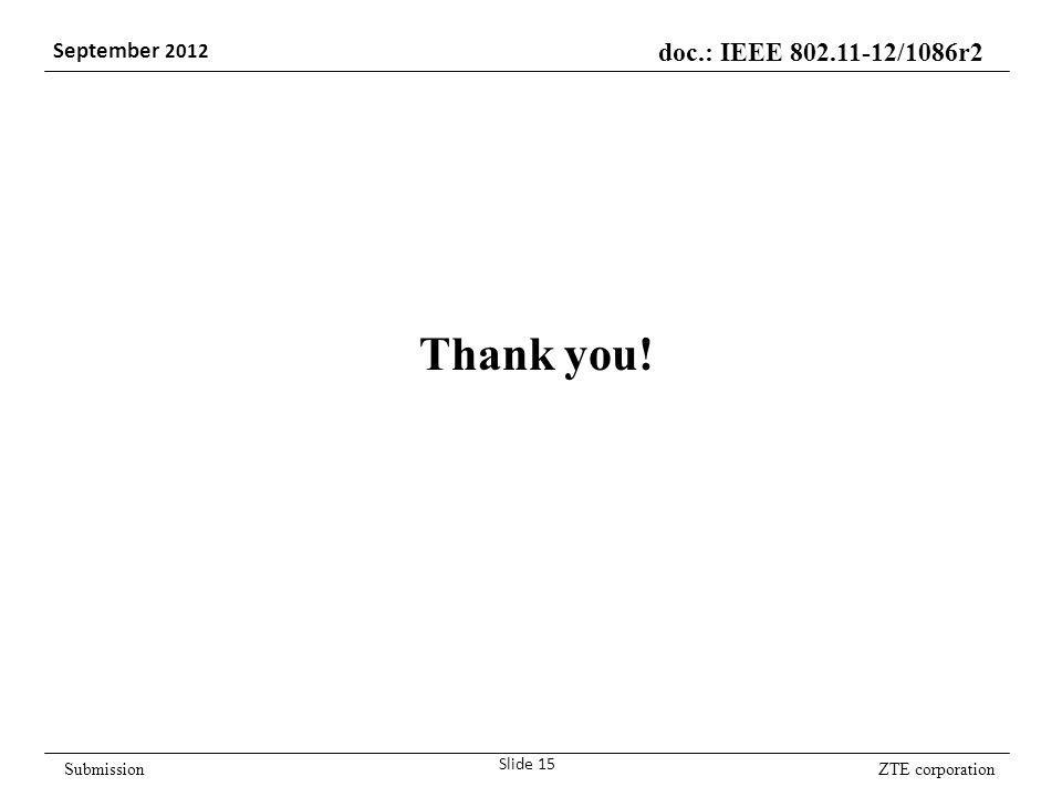 ZTE corporation doc.: IEEE 802.11-12/1086r2 September 2012 Submission Slide 15 Thank you!