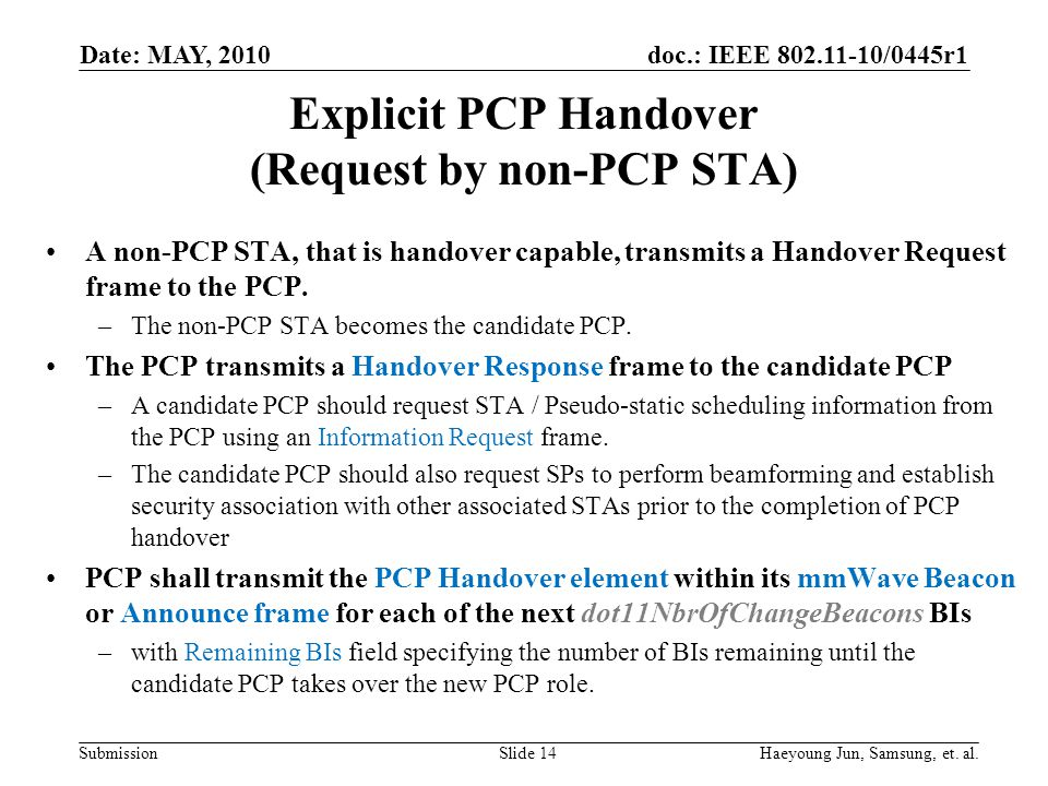 doc.: IEEE 802.11-10/0445r1 Submission Explicit PCP Handover (Request by non-PCP STA) A non-PCP STA, that is handover capable, transmits a Handover Request frame to the PCP.