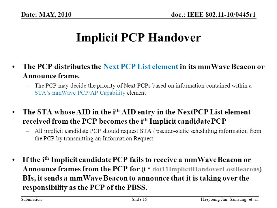 doc.: IEEE 802.11-10/0445r1 Submission Implicit PCP Handover The PCP distributes the Next PCP List element in its mmWave Beacon or Announce frame.