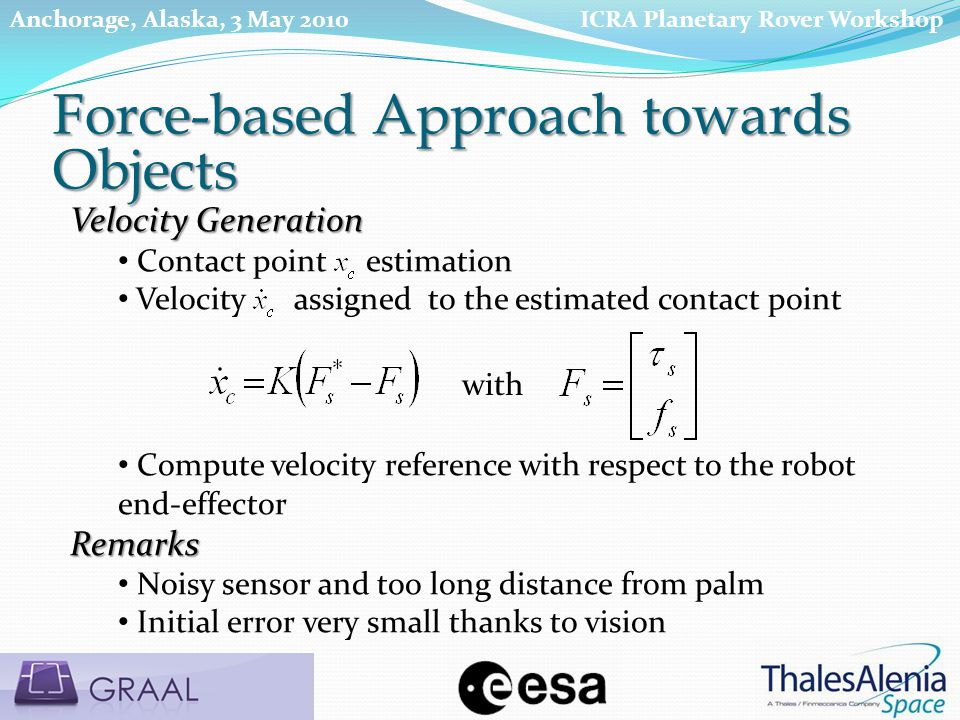 Velocity Generation Contact point estimation Velocity assigned to the estimated contact point Compute velocity reference with respect to the robot end-effectorRemarks Noisy sensor and too long distance from palm Initial error very small thanks to vision with Force-based Approach towards Objects ICRA Planetary Rover WorkshopAnchorage, Alaska, 3 May 2010