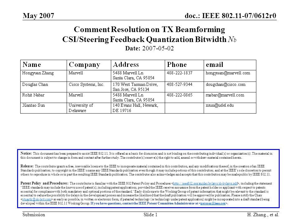 doc.: IEEE 802.11-07/0612r0 Submission May 2007 H. Zhang., et al.Slide 1 Comment Resolution on TX Beamforming CSI/Steering Feedback Quantization Bitwi