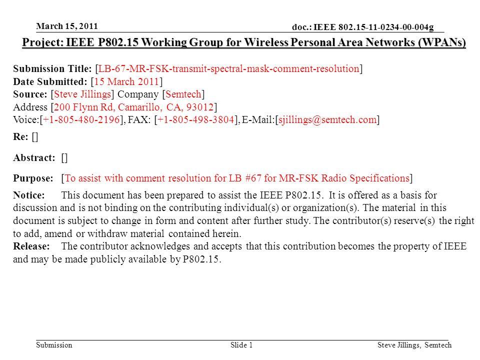doc.: IEEE 802.15-11-0234-00-004g Submission March 15, 2011 Steve Jillings, SemtechSlide 2 16.1.5.6 Transmit Spectral Mask CID #293 –Transmit spectral mask is too loose.