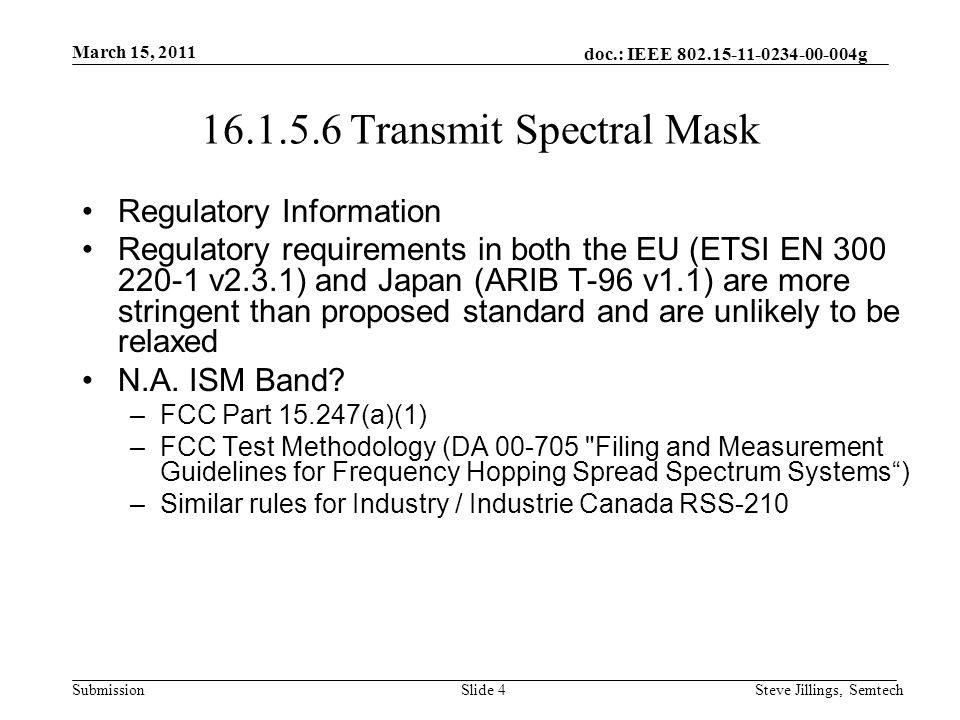 doc.: IEEE 802.15-11-0234-00-004g Submission March 15, 2011 Steve Jillings, SemtechSlide 5 16.1.5.6 Transmit Spectral Mask Case BR = 50 kb/s, h = 1, channel spacing = 200 kHz –R = 25 kHz –M1 = 1.5*R*(1+h) = 1.5*25*(1+1) = ±75 kHz –M2 = 3*R*(1+h) = 3*25*(1+1) = ±150 kHz Case BR = 200 kb/s, h = 0.5, channel spacing = 400 kHz –R = 100 kHz –M1 = 1.5*R*(1+h) = 1.5*100*(1+0.5) = ±225 kHz –M2 = 3*R*(1+h) = 3*100*(1+0.5) = ±450 kHz