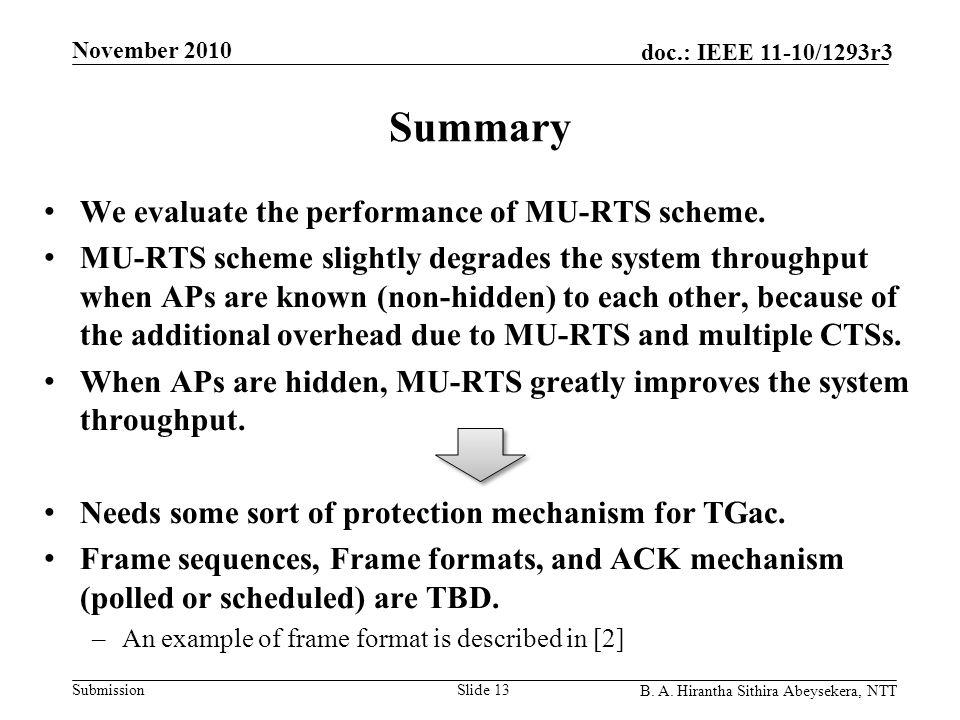Submission doc.: IEEE 11-10/1293r3 November 2010 B. A. Hirantha Sithira Abeysekera, NTT Summary We evaluate the performance of MU-RTS scheme. MU-RTS s