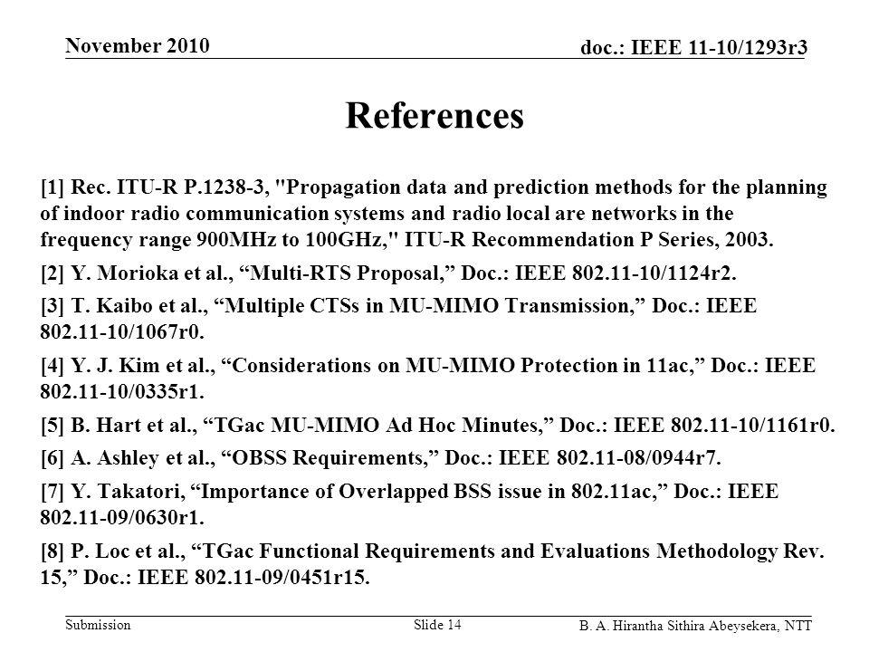 Submission doc.: IEEE 11-10/1293r3 November 2010 B. A. Hirantha Sithira Abeysekera, NTT References [1] Rec. ITU-R P.1238-3,