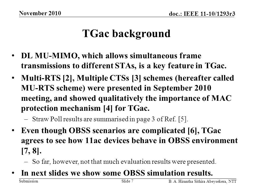 Submission doc.: IEEE 11-10/1293r3 November 2010 B. A. Hirantha Sithira Abeysekera, NTT TGac background DL MU-MIMO, which allows simultaneous frame tr