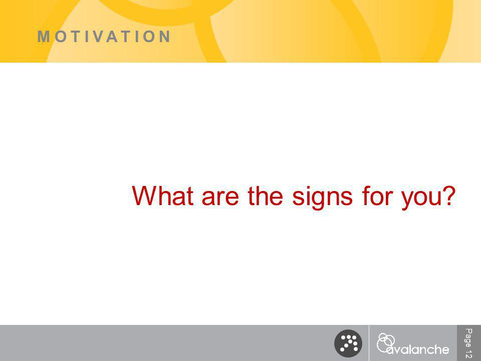 Page 12 MOTIVATION What are the signs for you