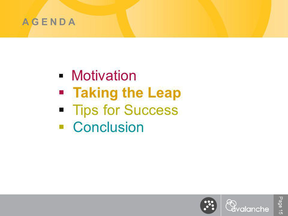 Page 15 AGENDA  Motivation  Taking the Leap  Tips for Success  Conclusion
