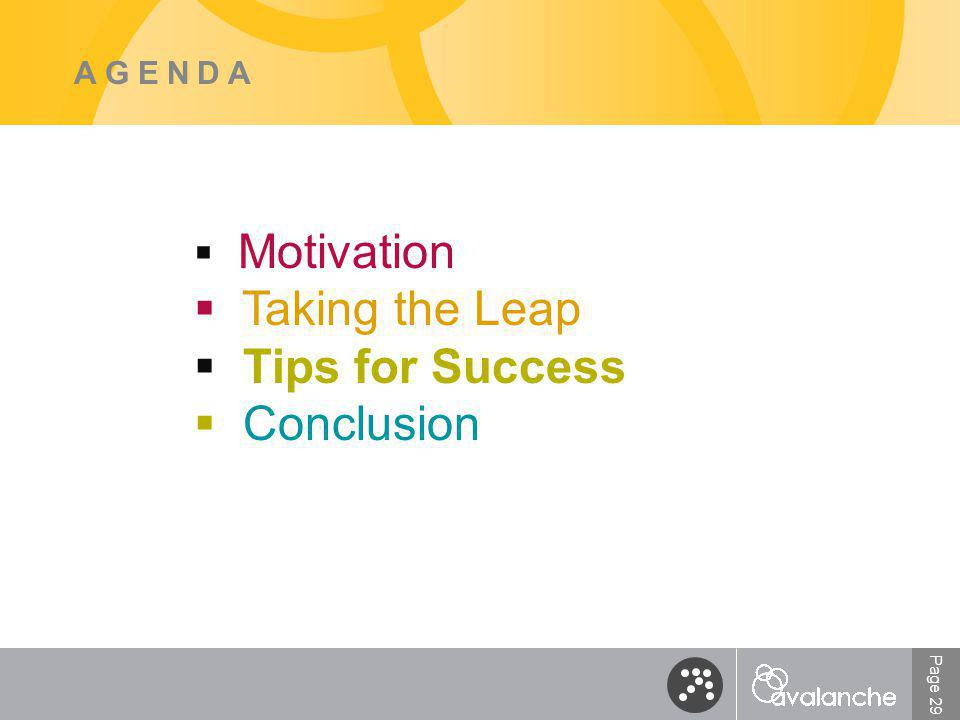 Page 29 AGENDA  Motivation  Taking the Leap  Tips for Success  Conclusion