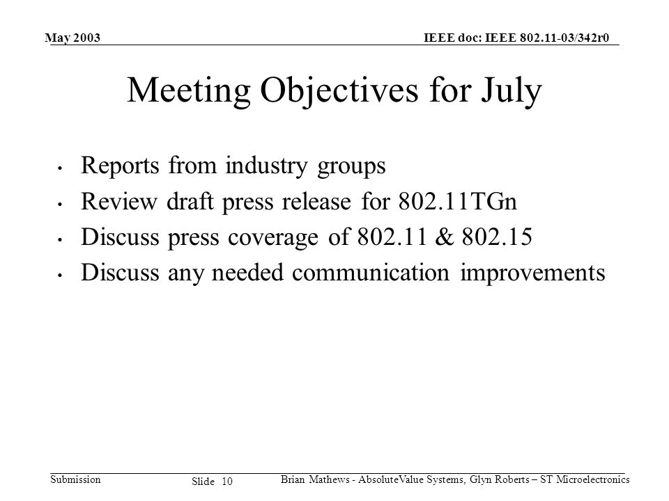 May 2003 Brian Mathews - AbsoluteValue Systems, Glyn Roberts – ST Microelectronics IEEE doc: IEEE 802.11-03/342r0 Submission 10 Slide Meeting Objectiv