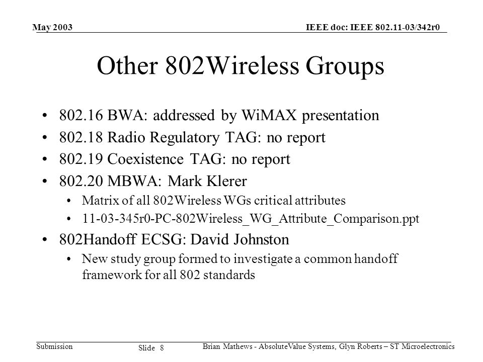 May 2003 Brian Mathews - AbsoluteValue Systems, Glyn Roberts – ST Microelectronics IEEE doc: IEEE 802.11-03/342r0 Submission 8 Slide Other 802Wireless