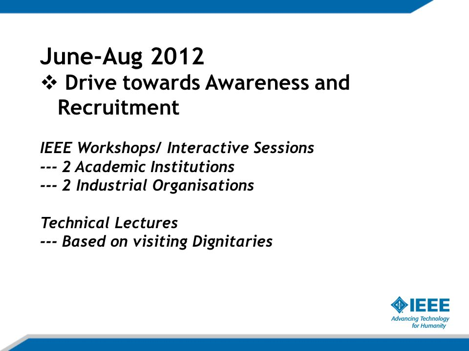 June-Aug 2012  Drive towards Awareness and Recruitment IEEE Workshops/ Interactive Sessions Academic Institutions Industrial Organisations Technical Lectures --- Based on visiting Dignitaries
