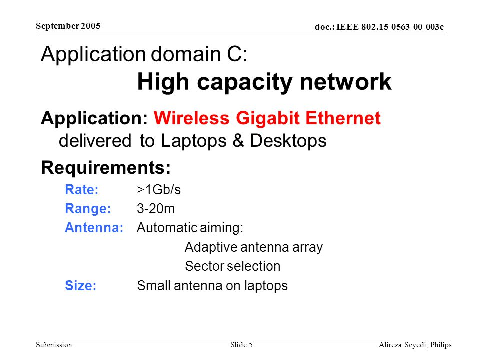 doc.: IEEE 802.15-0563-00-003c Submission September 2005 Alireza Seyedi, PhilipsSlide 5 Application domain C: High capacity network Application: Wireless Gigabit Ethernet delivered to Laptops & Desktops Requirements: Rate:>1Gb/s Range: 3-20m Antenna: Automatic aiming: Adaptive antenna array Sector selection Size: Small antenna on laptops