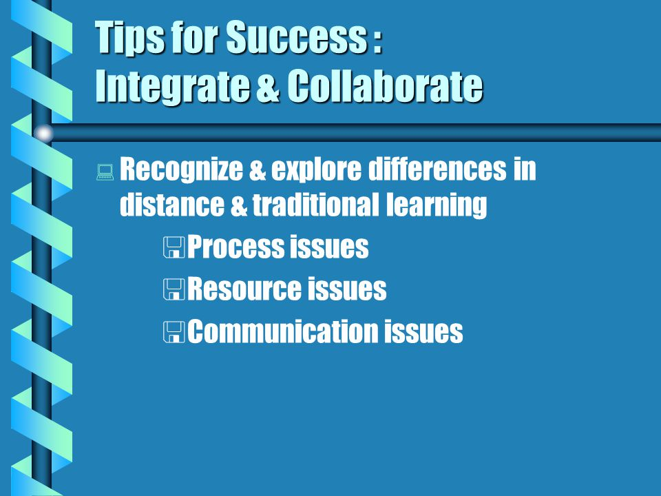 Tips for Success : Integrate & Collaborate   Read the Web for   ideas   examples   help