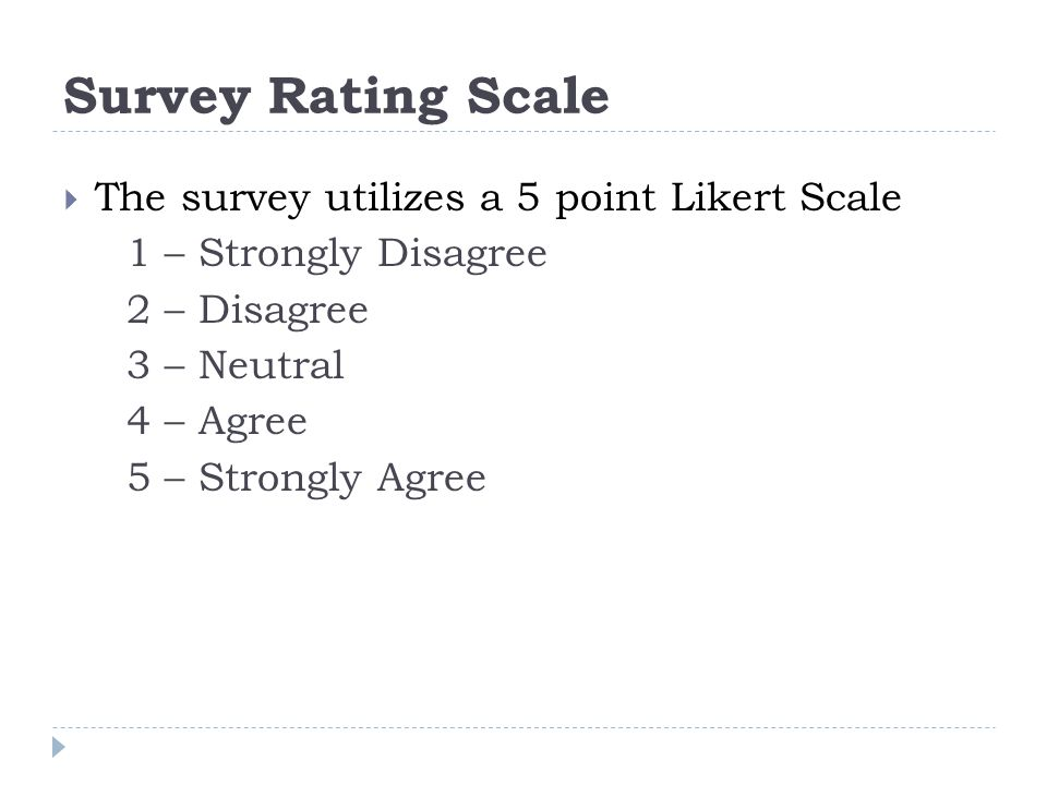 Survey Rating Scale  The survey utilizes a 5 point Likert Scale 1 – Strongly Disagree 2 – Disagree 3 – Neutral 4 – Agree 5 – Strongly Agree