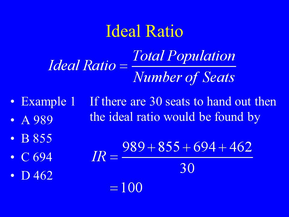 Ideal Ratio Example 1 A 989 B 855 C 694 D 462 If there are 30 seats to hand out then the ideal ratio would be found by