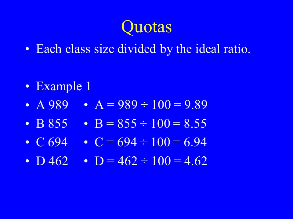 Quotas Each class size divided by the ideal ratio.